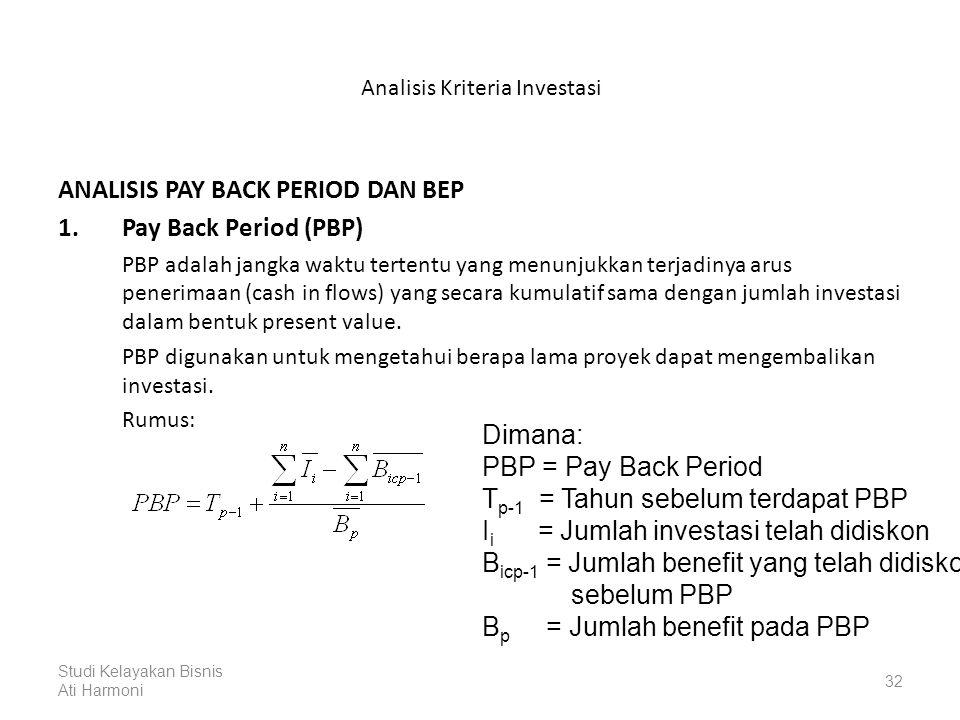 Analisis Kriteria Investasi ANALISIS PAY BACK PERIOD DAN BEP 1.Pay Back Period (PBP) PBP adalah jangka waktu tertentu yang menunjukkan terjadinya arus penerimaan (cash in flows) yang secara kumulatif sama dengan jumlah investasi dalam bentuk present value.