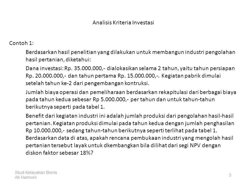 Analisis Kriteria Investasi Tabel 1: Persiapan Perhitungan NPV (dalam Rp.000,-) ThnInvestasiBiaya Operasi Total CostBenefitNet Benefit D.F.