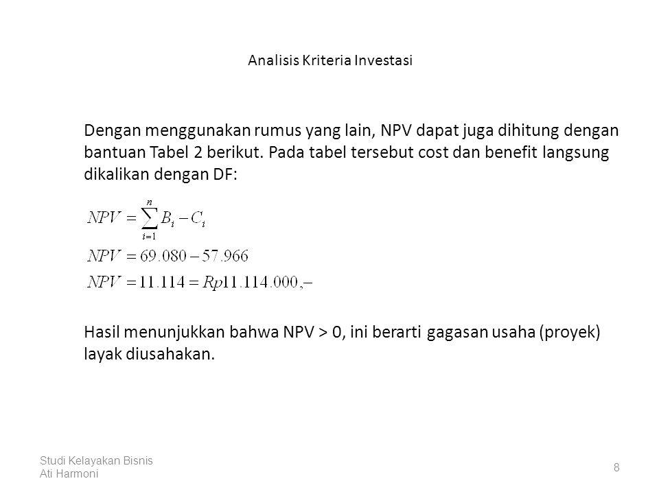 Analisis Kriteria Investasi Dengan menggunakan rumus yang lain, NPV dapat juga dihitung dengan bantuan Tabel 2 berikut.