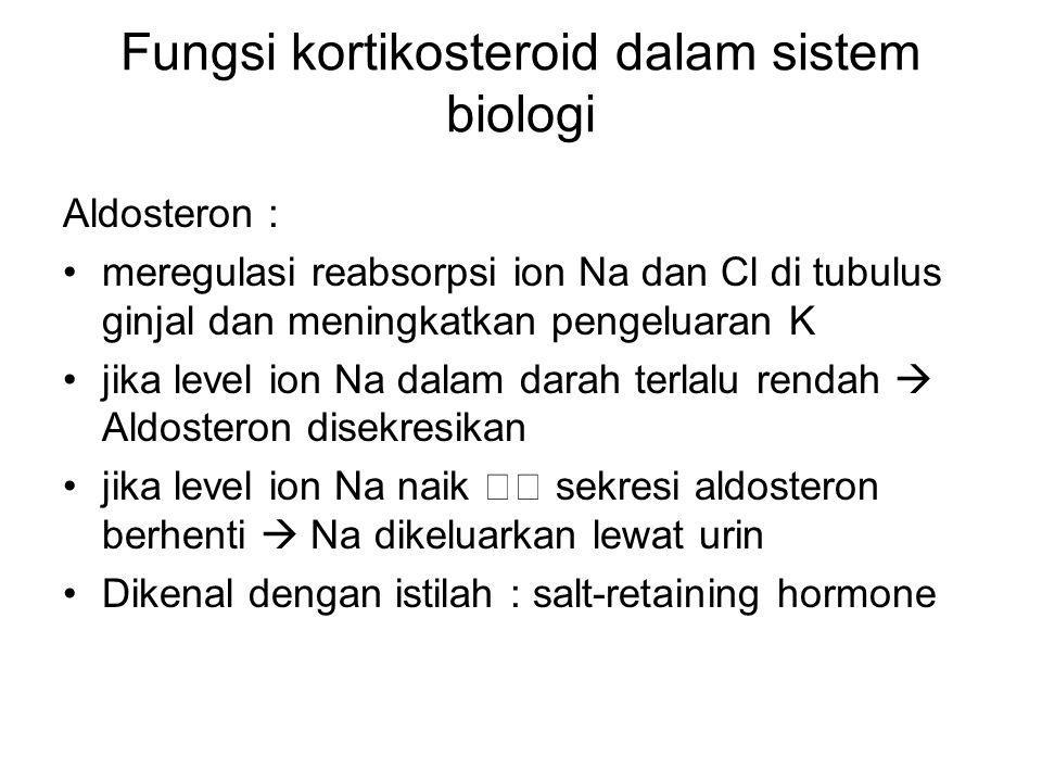 Fungsi kortikosteroid dalam sistem biologi Aldosteron : meregulasi reabsorpsi ion Na dan Cl di tubulus ginjal dan meningkatkan pengeluaran K jika leve