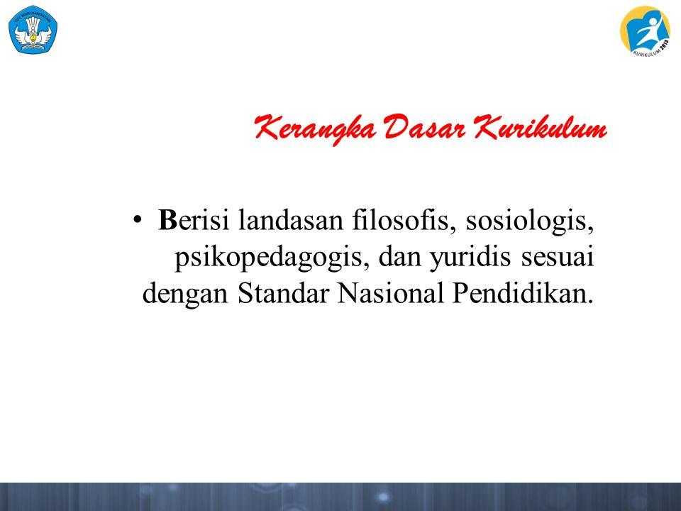 Kerangka Dasar Kurikulum Berisi landasan filosofis, sosiologis, psikopedagogis, dan yuridis sesuai dengan Standar Nasional Pendidikan.