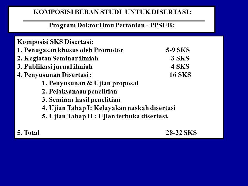 KOMPOSISI BEBAN STUDI UNTUK DISERTASI : Program Doktor Ilmu Pertanian - PPSUB: Komposisi SKS Disertasi: 1.