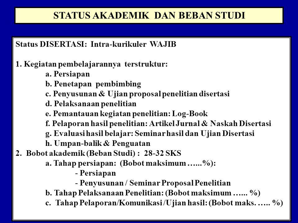 STATUS AKADEMIK DAN BEBAN STUDI Status DISERTASI: Intra-kurikuler WAJIB 1.