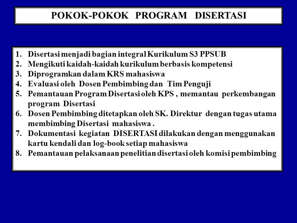 POKOK-POKOK PROGRAM DISERTASI 1.Disertasi menjadi bagian integral Kurikulum S3 PPSUB 2.