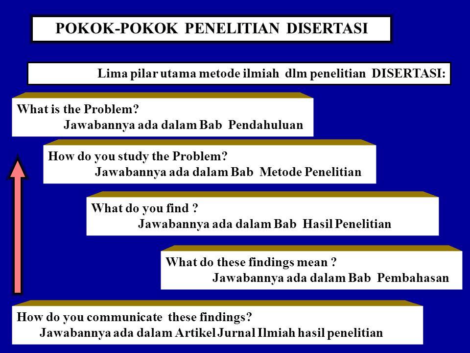 POKOK-POKOK PENELITIAN DISERTASI What is the Problem.
