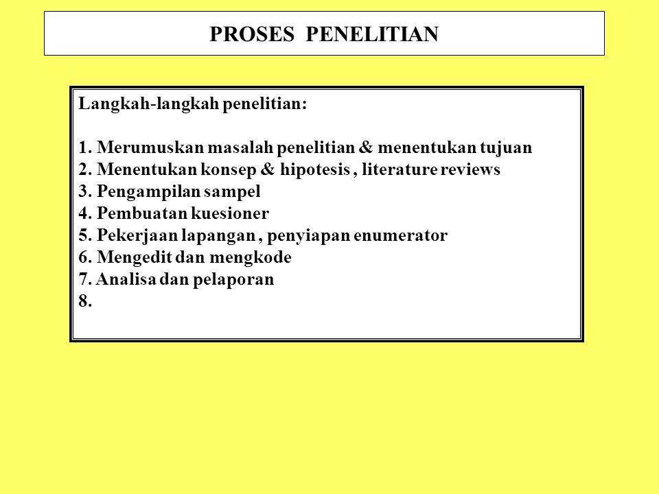 PROSES PENELITIAN Langkah-langkah penelitian: 1.