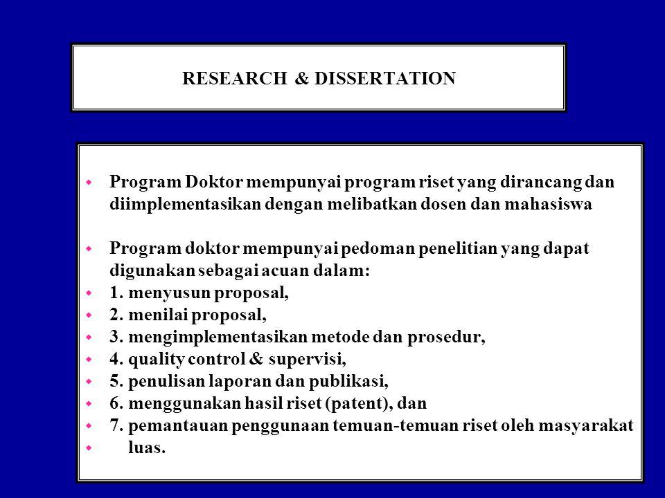 RESEARCH & DISSERTATION w Program Doktor mempunyai program riset yang dirancang dan diimplementasikan dengan melibatkan dosen dan mahasiswa w Program doktor mempunyai pedoman penelitian yang dapat digunakan sebagai acuan dalam: w 1.