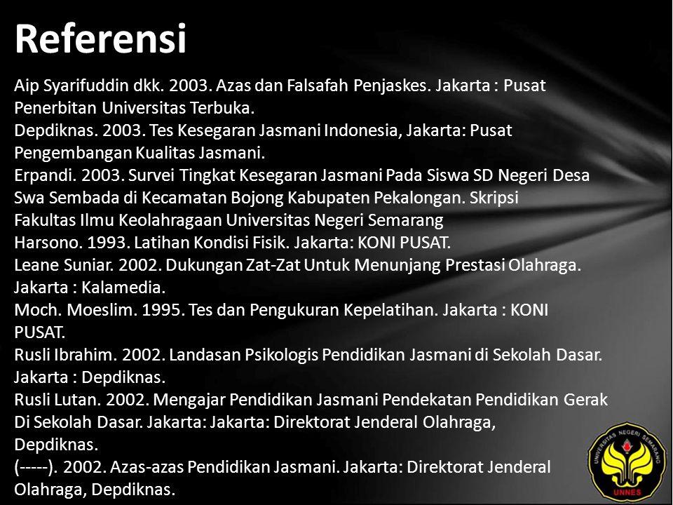Referensi Aip Syarifuddin dkk. 2003. Azas dan Falsafah Penjaskes. Jakarta : Pusat Penerbitan Universitas Terbuka. Depdiknas. 2003. Tes Kesegaran Jasma