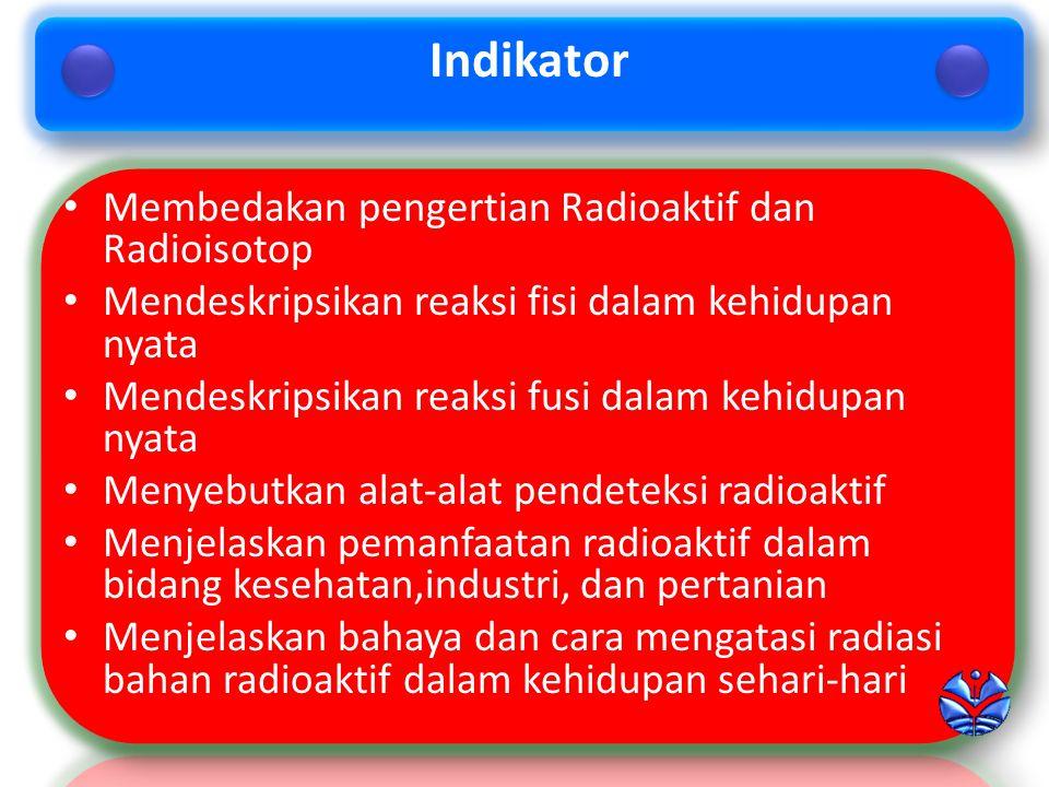 Membedakan pengertian Radioaktif dan Radioisotop Mendeskripsikan reaksi fisi dalam kehidupan nyata Mendeskripsikan reaksi fusi dalam kehidupan nyata Menyebutkan alat-alat pendeteksi radioaktif Menjelaskan pemanfaatan radioaktif dalam bidang kesehatan,industri, dan pertanian Menjelaskan bahaya dan cara mengatasi radiasi bahan radioaktif dalam kehidupan sehari-hari