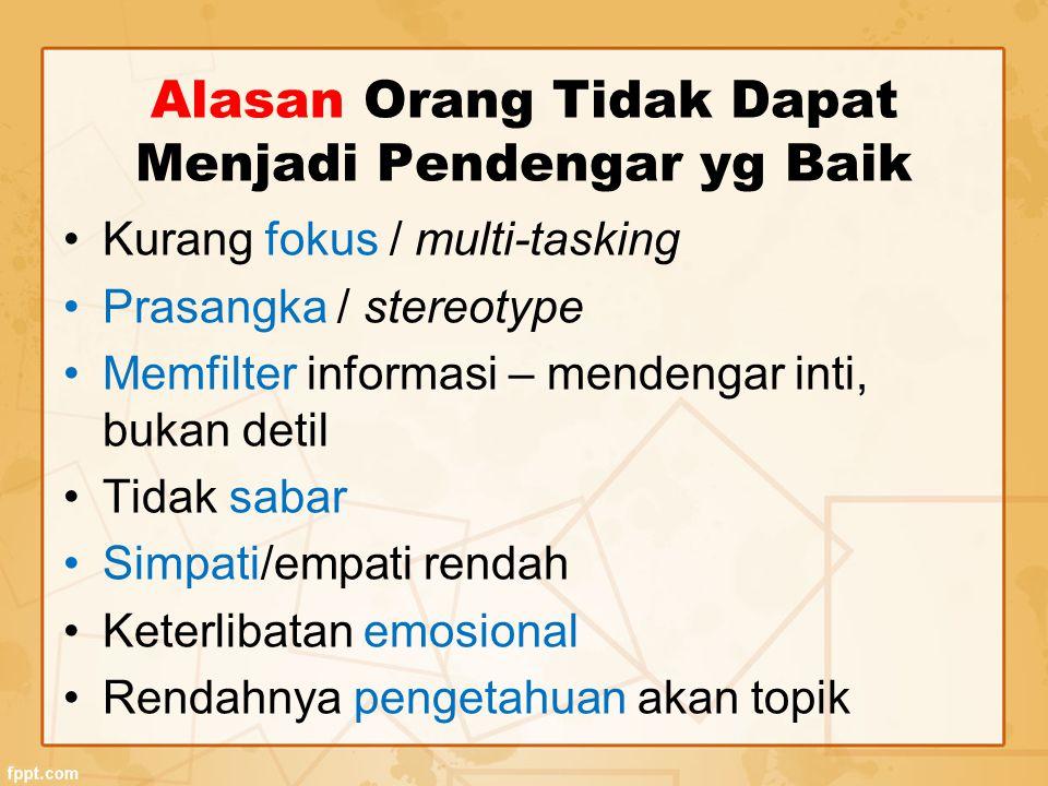 Alasan Orang Tidak Dapat Menjadi Pendengar yg Baik Kurang fokus / multi-tasking Prasangka / stereotype Memfilter informasi – mendengar inti, bukan det