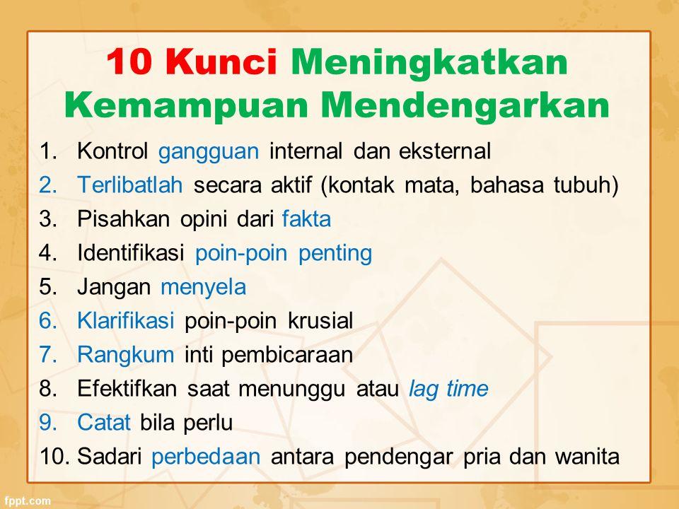 10 Kunci Meningkatkan Kemampuan Mendengarkan 1.Kontrol gangguan internal dan eksternal 2.Terlibatlah secara aktif (kontak mata, bahasa tubuh) 3.Pisahk
