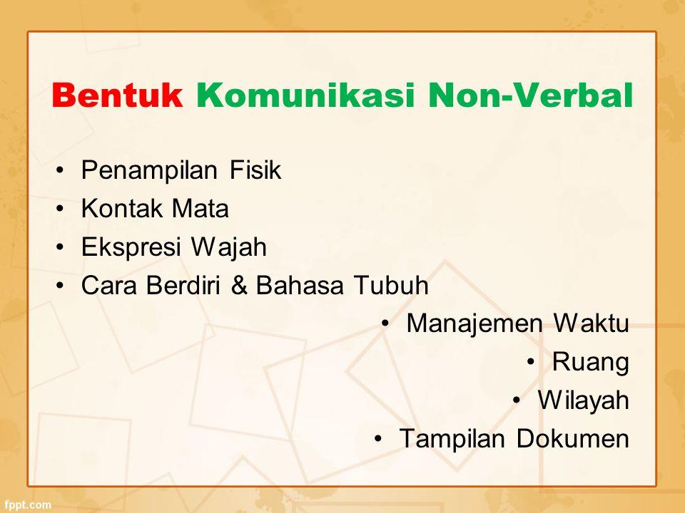 Bentuk Komunikasi Non-Verbal Penampilan Fisik Kontak Mata Ekspresi Wajah Cara Berdiri & Bahasa Tubuh Manajemen Waktu Ruang Wilayah Tampilan Dokumen