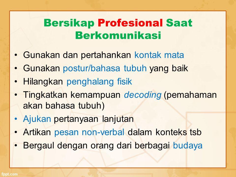 Bersikap Profesional Saat Berkomunikasi Gunakan dan pertahankan kontak mata Gunakan postur/bahasa tubuh yang baik Hilangkan penghalang fisik Tingkatka