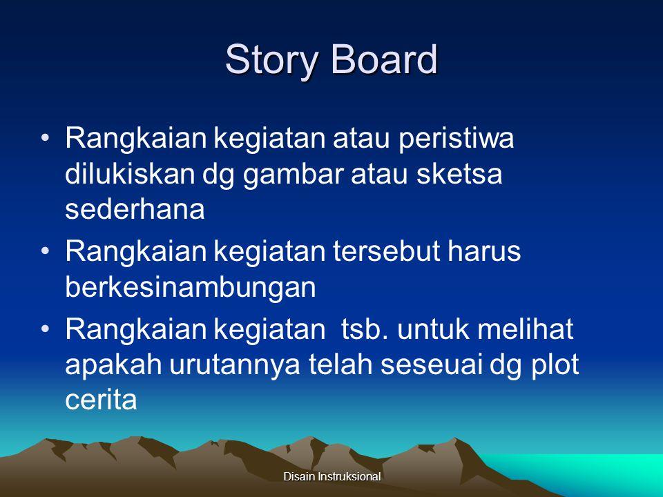 Story Board Rangkaian kegiatan atau peristiwa dilukiskan dg gambar atau sketsa sederhana Rangkaian kegiatan tersebut harus berkesinambungan Rangkaian