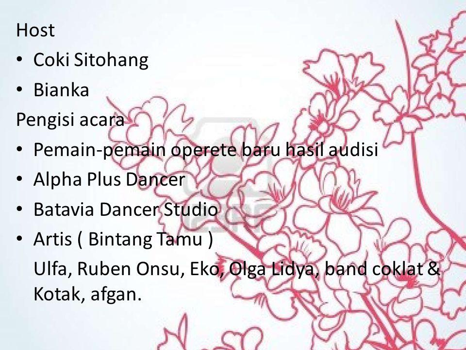 Host Coki Sitohang Bianka Pengisi acara Pemain-pemain operete baru hasil audisi Alpha Plus Dancer Batavia Dancer Studio Artis ( Bintang Tamu ) Ulfa, Ruben Onsu, Eko, Olga Lidya, band coklat & Kotak, afgan.