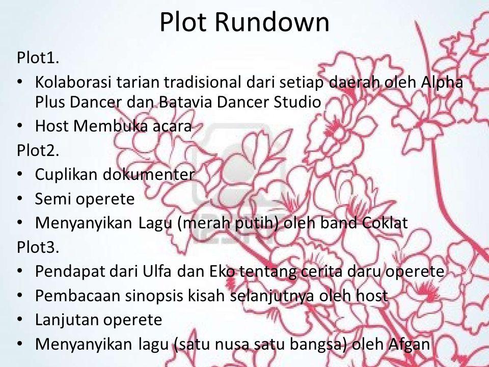 Plot Rundown Plot1. Kolaborasi tarian tradisional dari setiap daerah oleh Alpha Plus Dancer dan Batavia Dancer Studio Host Membuka acara Plot2. Cuplik