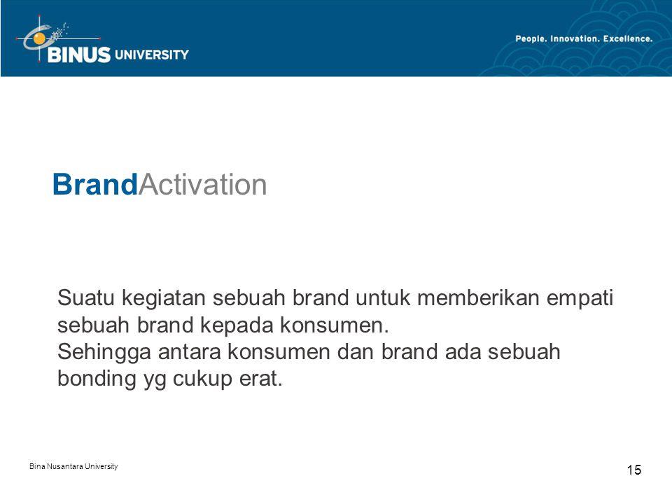 Bina Nusantara University 15 Suatu kegiatan sebuah brand untuk memberikan empati sebuah brand kepada konsumen. Sehingga antara konsumen dan brand ada
