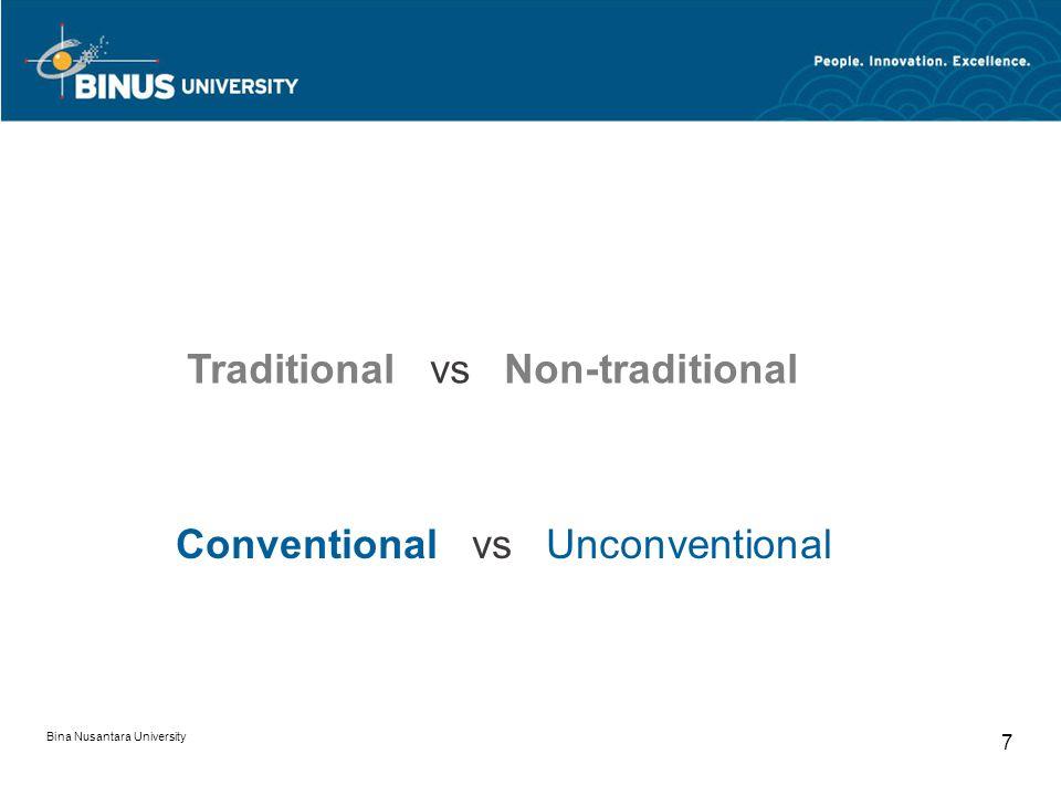 Bina Nusantara University 7 Traditional vs Non-traditional Conventional vs Unconventional