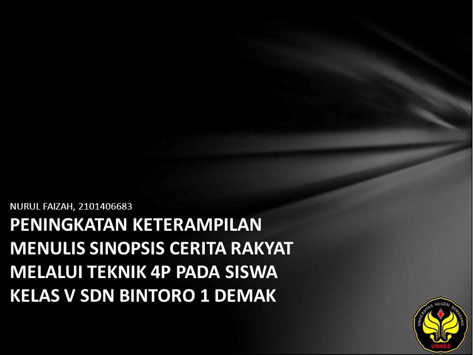 Identitas Mahasiswa - NAMA : NURUL FAIZAH - NIM : 2101406683 - PRODI : Pendidikan Bahasa, Sastra Indonesia, dan Daerah (Pendidikan Bahasa dan Sastra Indonesia) - JURUSAN : Bahasa & Sastra Indonesia - FAKULTAS : Bahasa dan Seni - EMAIL : nrl_faizah pada domain yahoo.com - PEMBIMBING 1 : Drs.