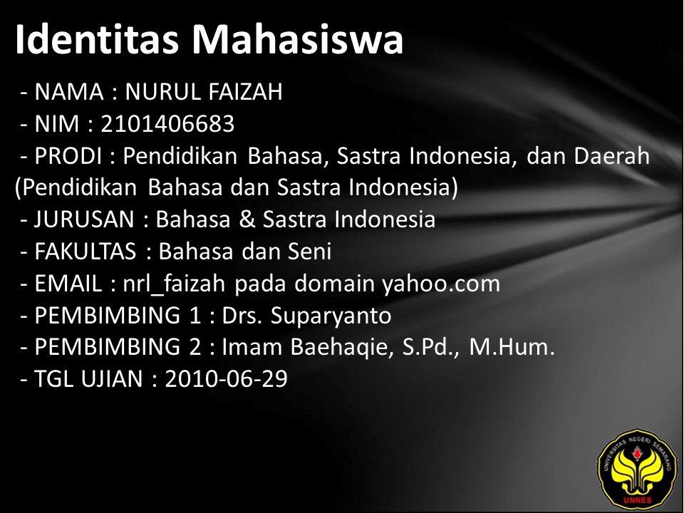 Identitas Mahasiswa - NAMA : NURUL FAIZAH - NIM : 2101406683 - PRODI : Pendidikan Bahasa, Sastra Indonesia, dan Daerah (Pendidikan Bahasa dan Sastra I
