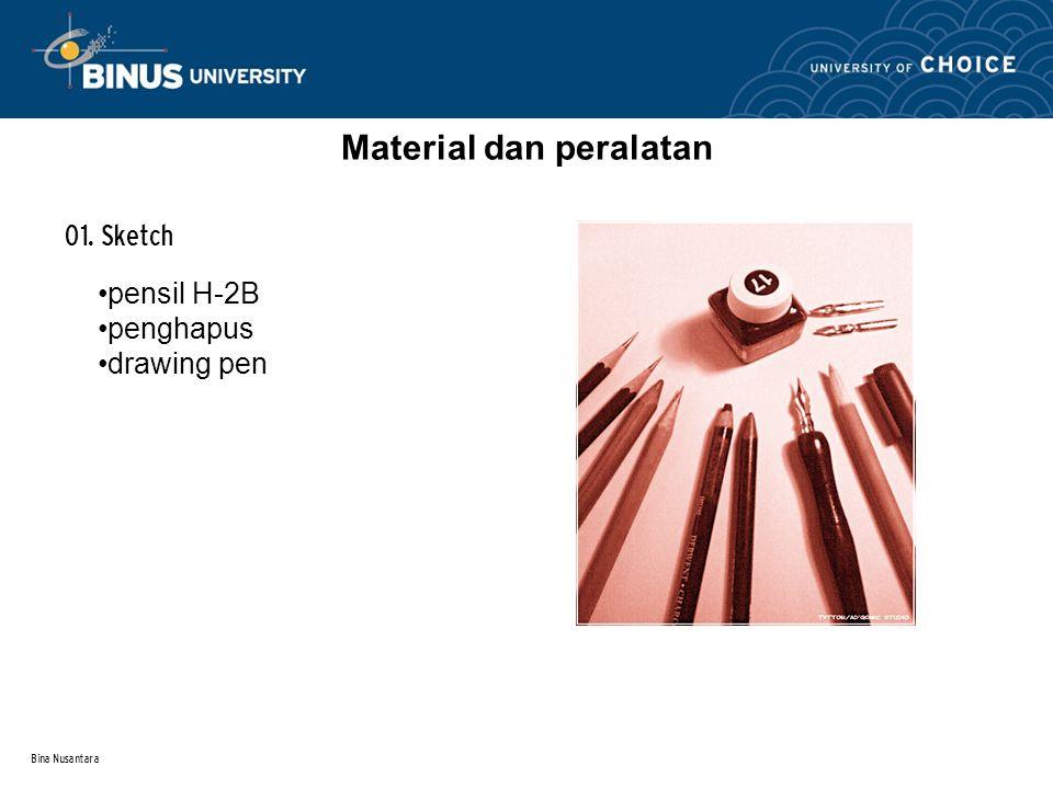 Bina Nusantara Material dan peralatan 01. Sketch pensil H-2B penghapus drawing pen