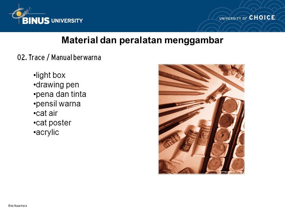 Bina Nusantara Material dan peralatan menggambar 02.