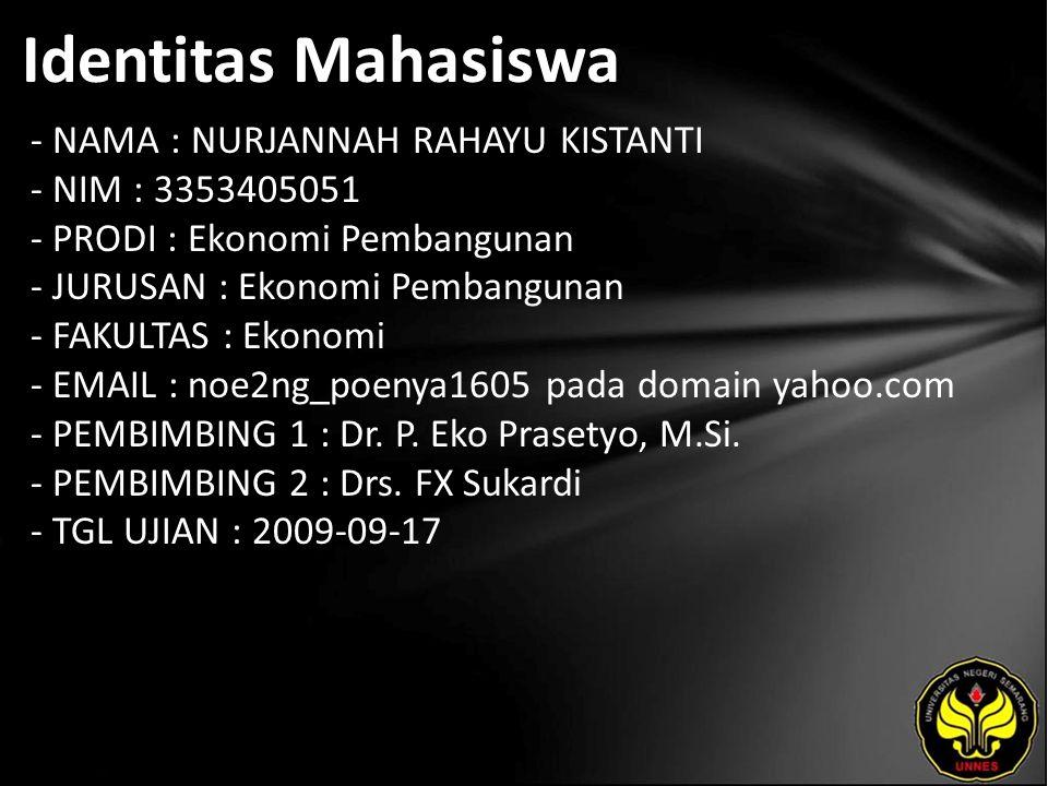 Identitas Mahasiswa - NAMA : NURJANNAH RAHAYU KISTANTI - NIM : 3353405051 - PRODI : Ekonomi Pembangunan - JURUSAN : Ekonomi Pembangunan - FAKULTAS : Ekonomi - EMAIL : noe2ng_poenya1605 pada domain yahoo.com - PEMBIMBING 1 : Dr.