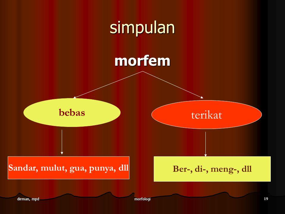morfologi 19 dirman, mpd simpulan morfem bebas terikat Sandar, mulut, gua, punya, dll Ber-, di-, meng-, dll