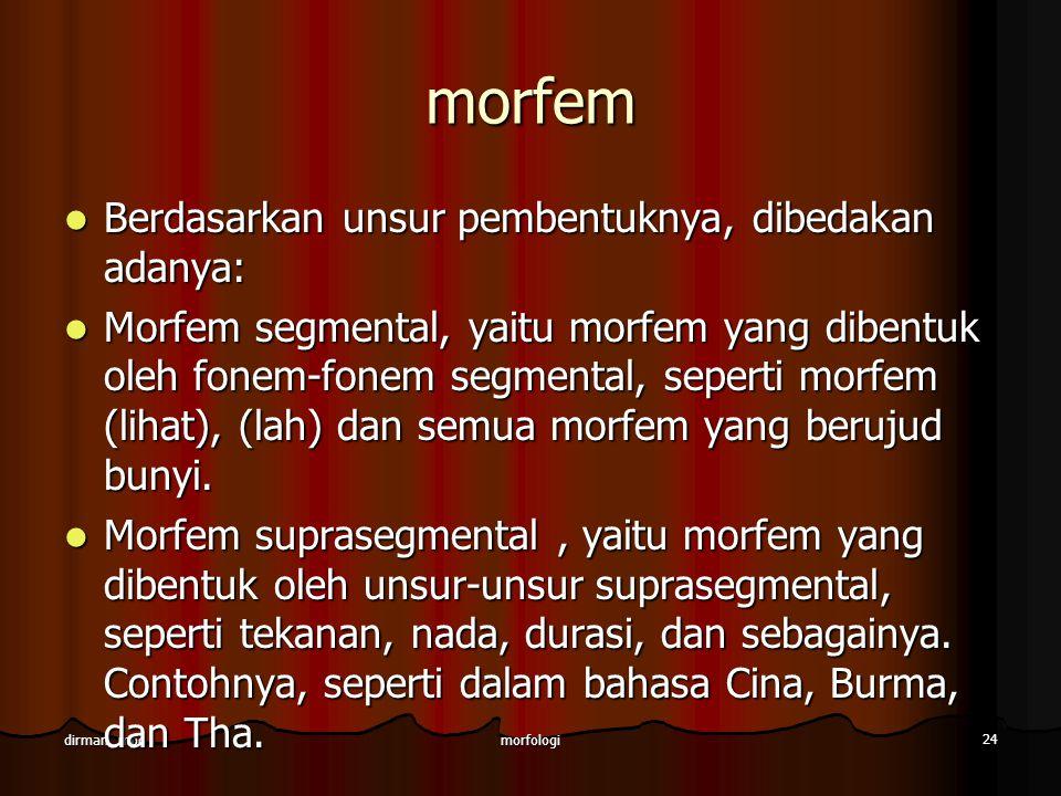 morfologi 24 dirman, mpd morfem Berdasarkan unsur pembentuknya, dibedakan adanya: Berdasarkan unsur pembentuknya, dibedakan adanya: Morfem segmental,