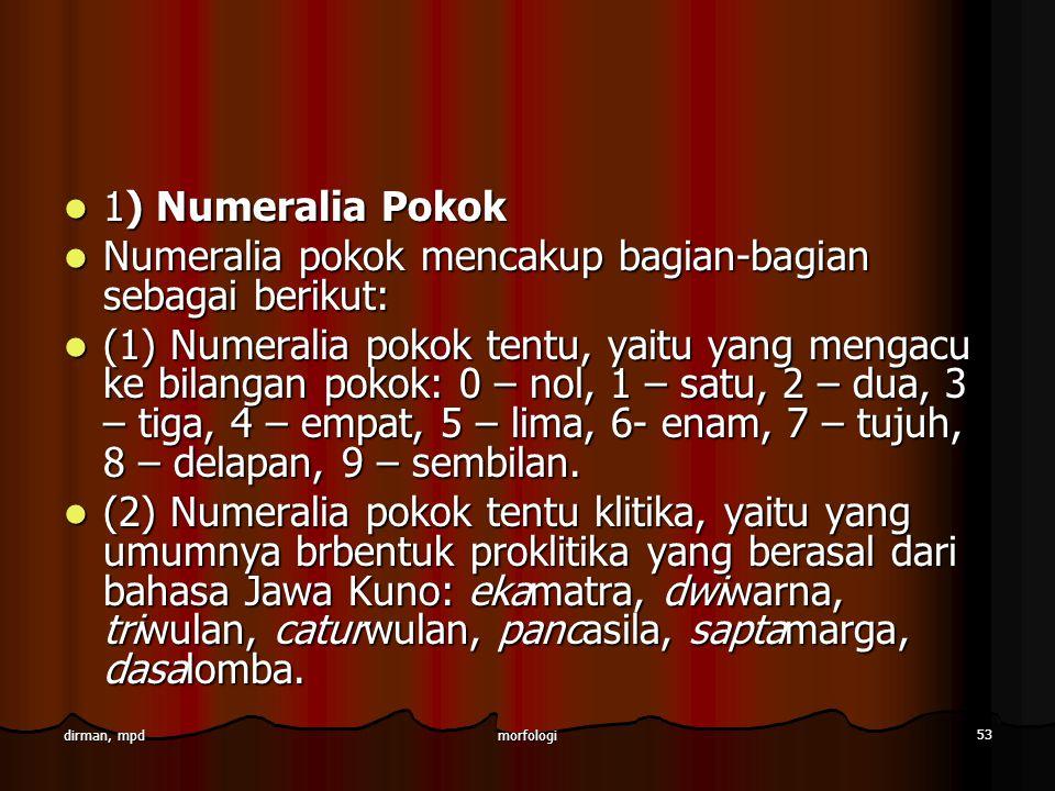 morfologi 53 dirman, mpd 1) Numeralia Pokok 1) Numeralia Pokok Numeralia pokok mencakup bagian-bagian sebagai berikut: Numeralia pokok mencakup bagian