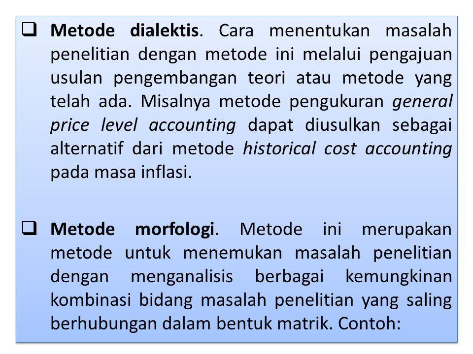  Metode dialektis. Cara menentukan masalah penelitian dengan metode ini melalui pengajuan usulan pengembangan teori atau metode yang telah ada. Misal