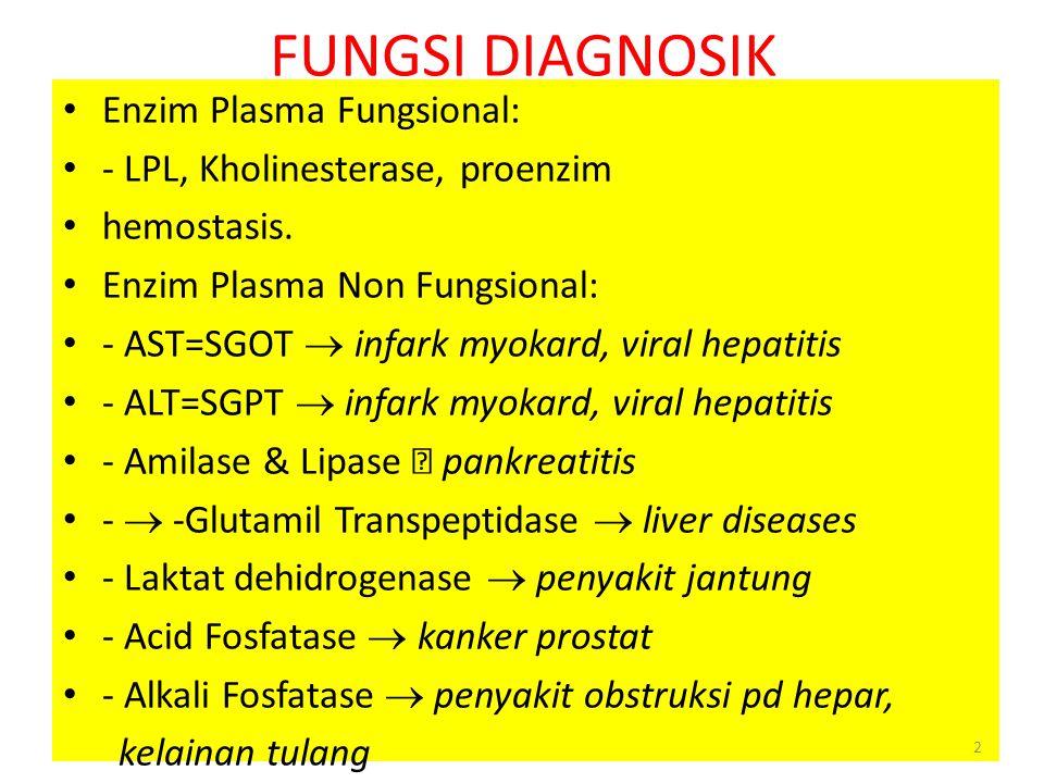 Pemanfaatan enzim sebagai alat diagnosis Enzim untuk alat diagnosis secara garis besar dibagi dalam tiga kelompok: 1.