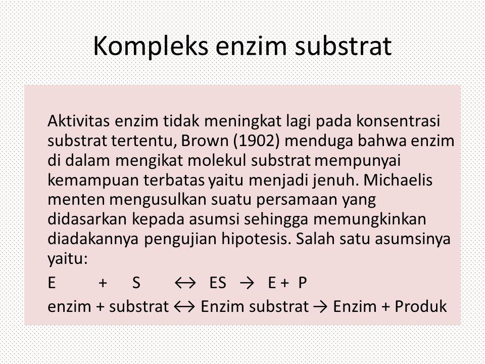 Kompleks enzim substrat Aktivitas enzim tidak meningkat lagi pada konsentrasi substrat tertentu, Brown (1902) menduga bahwa enzim di dalam mengikat mo