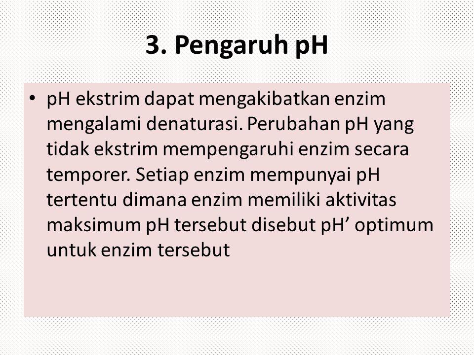 3. Pengaruh pH pH ekstrim dapat mengakibatkan enzim mengalami denaturasi. Perubahan pH yang tidak ekstrim mempengaruhi enzim secara temporer. Setiap e