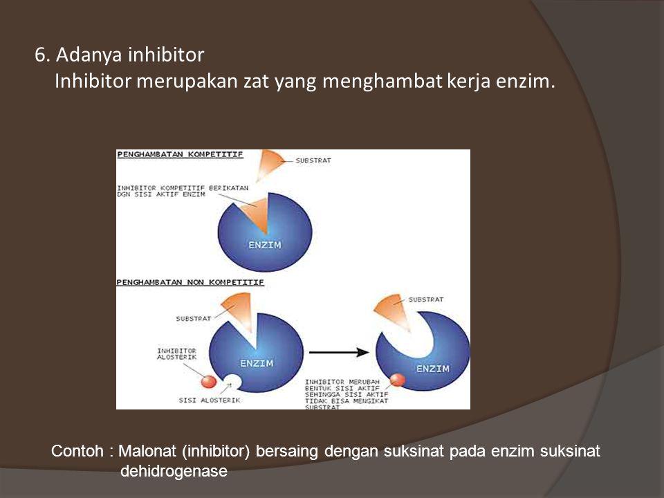 6.Adanya inhibitor Inhibitor merupakan zat yang menghambat kerja enzim.