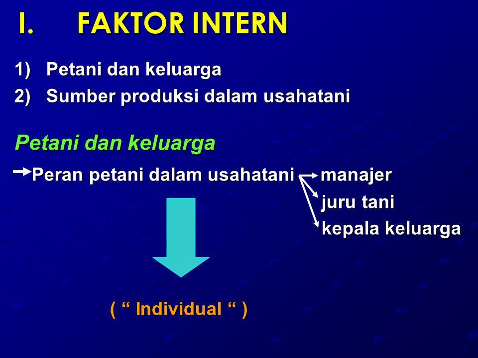 I.FAKTOR INTERN 1)Petani dan keluarga 2)Sumber produksi dalam usahatani Petani dan keluarga Peran petani dalam usahatani manajer Peran petani dalam usahatani manajer juru tani juru tani kepala keluarga kepala keluarga ( Individual )