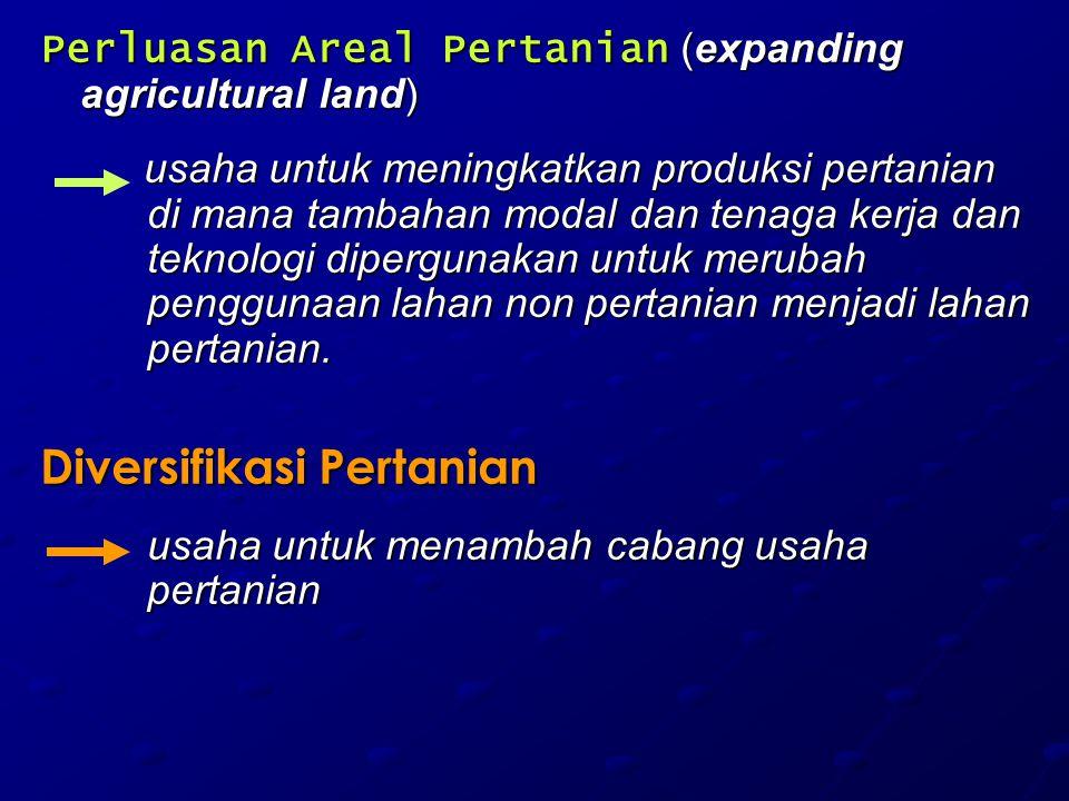 Perluasan Areal Pertanian (expanding agricultural land) usaha untuk meningkatkan produksi pertanian di mana tambahan modal dan tenaga kerja dan teknol