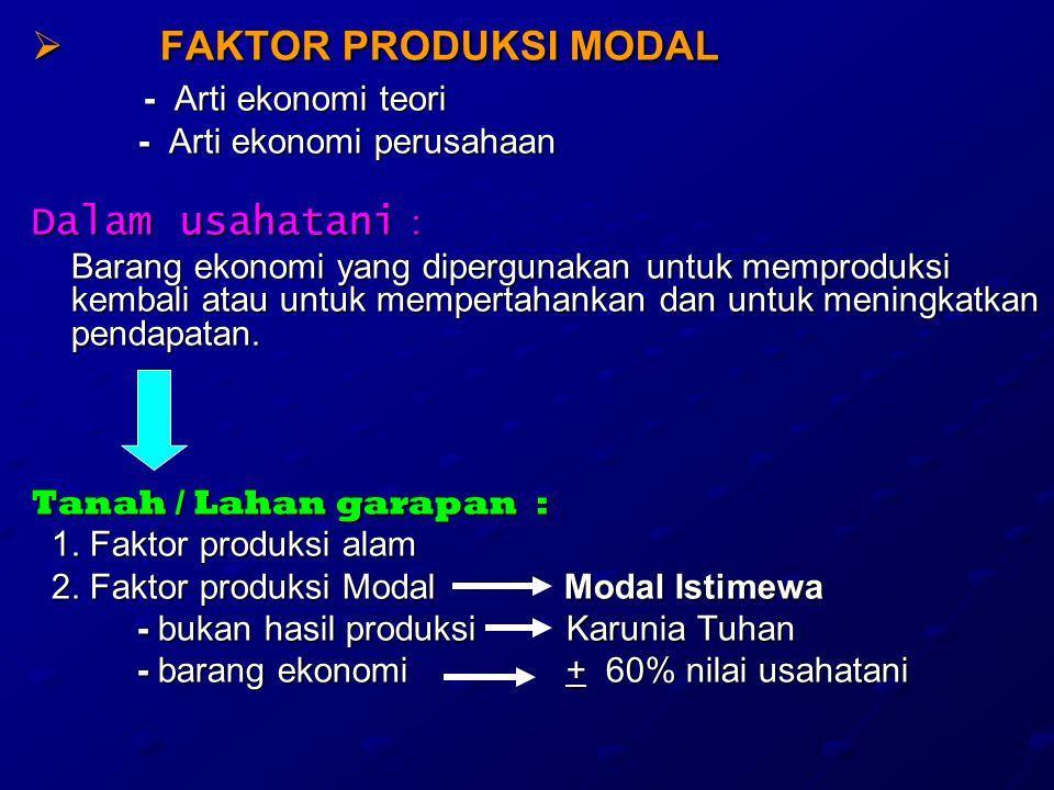 FFFFAKTOR PRODUKSI MODAL - Arti ekonomi teori - Arti ekonomi teori - Arti ekonomi perusahaan - Arti ekonomi perusahaan Dalam usahatani : Barang ekonomi yang dipergunakan untuk memproduksi kembali atau untuk mempertahankan dan untuk meningkatkan pendapatan.