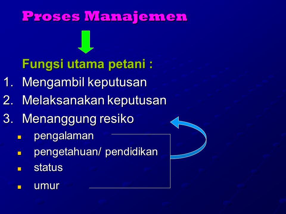 Proses Manajemen Fungsi utama petani : 1.M engambil keputusan 2.M elaksanakan keputusan 3.M enanggung resiko pengalaman pengetahuan/ pendidikan status umur