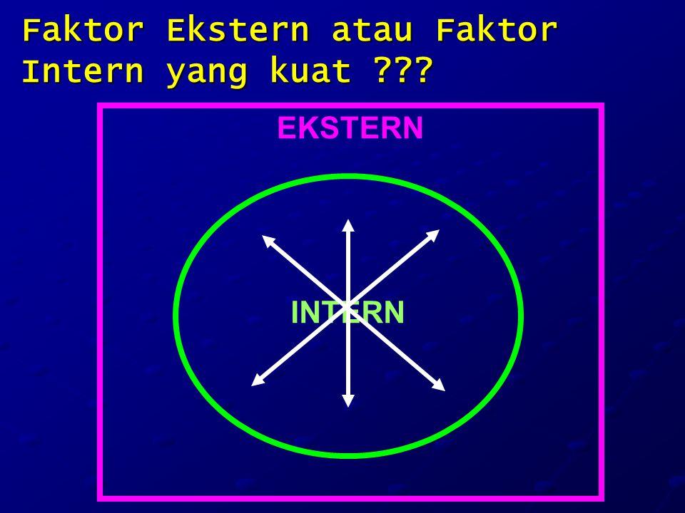 Faktor Ekstern atau Faktor Intern yang kuat ??? EKSTERN INTERN