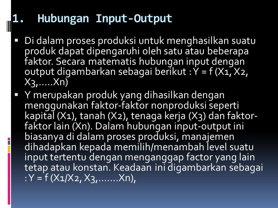 1.Hubungan Input-Output  Di dalam proses produksi untuk menghasilkan suatu produk dapat dipengaruhi oleh satu atau beberapa faktor. Secara matematis
