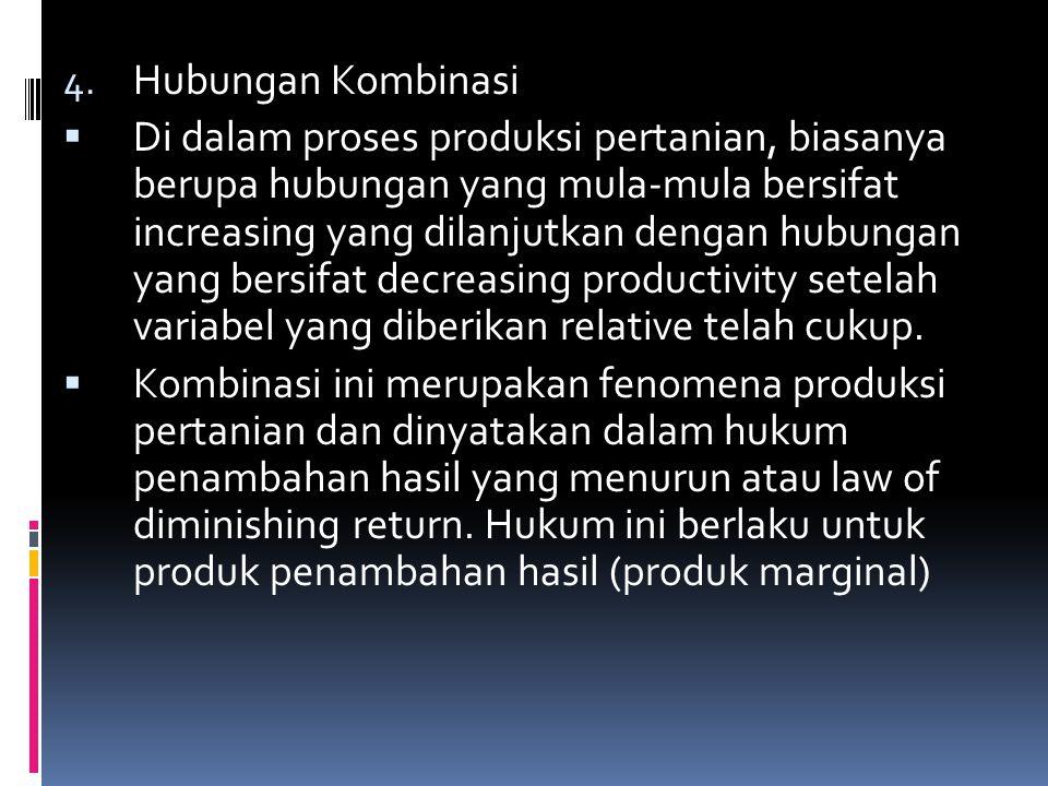 4. Hubungan Kombinasi  Di dalam proses produksi pertanian, biasanya berupa hubungan yang mula-mula bersifat increasing yang dilanjutkan dengan hubung