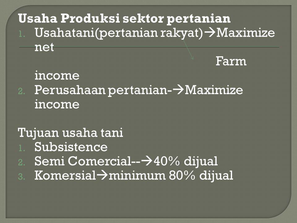 Usaha Produksi sektor pertanian 1. Usahatani(pertanian rakyat)  Maximize net Farm income 2. Perusahaan pertanian-  Maximize income Tujuan usaha tani