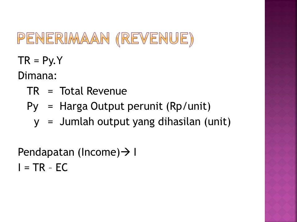 TR = Py.Y Dimana: TR= Total Revenue Py= Harga Output perunit (Rp/unit) y= Jumlah output yang dihasilan (unit) Pendapatan (Income)  I I = TR – EC