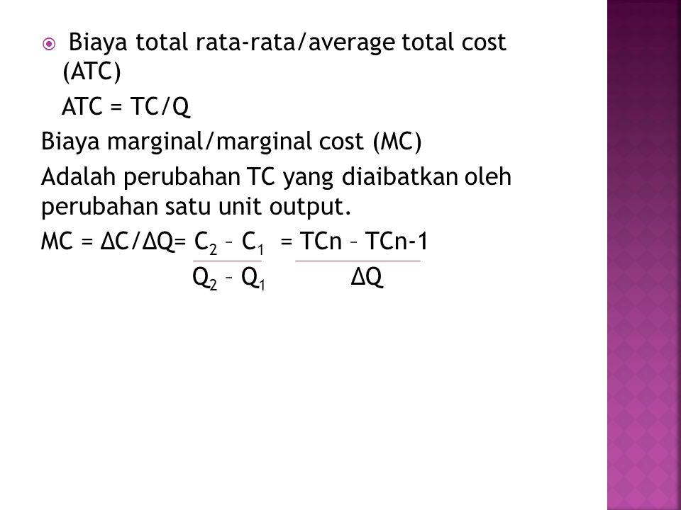  Biaya total rata-rata/average total cost (ATC) ATC = TC/Q Biaya marginal/marginal cost (MC) Adalah perubahan TC yang diaibatkan oleh perubahan satu unit output.