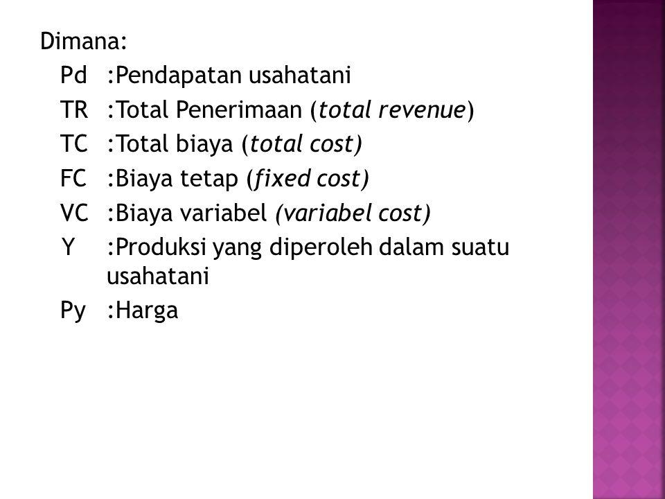 Dimana: Pd:Pendapatan usahatani TR:Total Penerimaan (total revenue) TC:Total biaya (total cost) FC:Biaya tetap (fixed cost) VC:Biaya variabel (variabel cost) Y:Produksi yang diperoleh dalam suatu usahatani Py:Harga