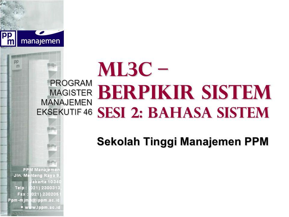 ML3C – Berpikir sistem Sesi 2: BAHASA SISTEM PROGRAM MAGISTER MANAJEMEN EKSEKUTIF 46 Sekolah Tinggi Manajemen PPM