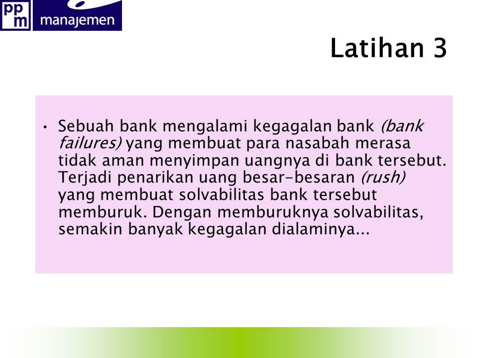 Latihan 3 Sebuah bank mengalami kegagalan bank (bank failures) yang membuat para nasabah merasa tidak aman menyimpan uangnya di bank tersebut. Terjadi