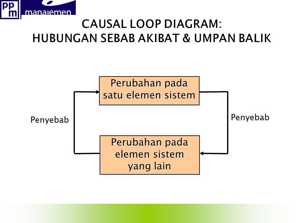 CAUSAL LOOP DIAGRAM: HUBUNGAN SEBAB AKIBAT & UMPAN BALIK Perubahan pada elemen sistem yang lain Perubahan pada satu elemen sistem Penyebab Penyebab
