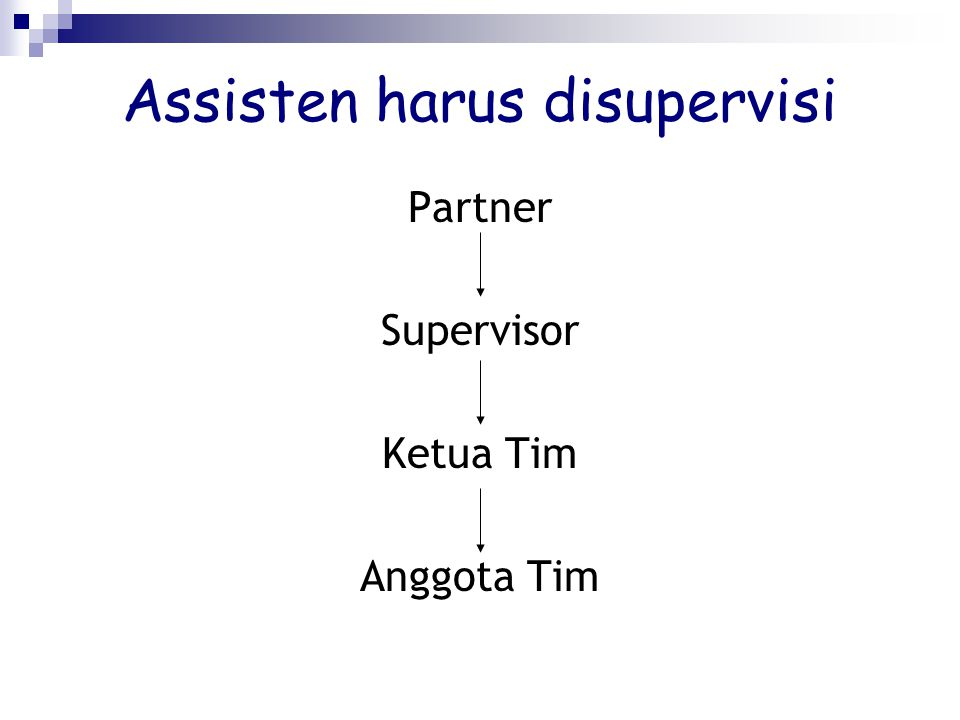 Assisten harus disupervisi Partner Supervisor Ketua Tim Anggota Tim